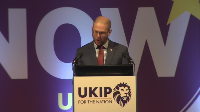 Henry Bolton speech ENGLAND Devon Torquay INT Paul Oakden announcing results of UKIP leadership election SOT Henry Bolton speech SOT re results of...