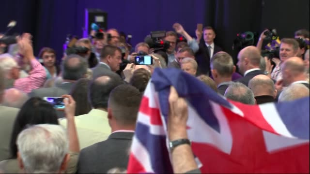 Nigel Farage speech **Music heard SOT** Nigel Farage MEP along to stage