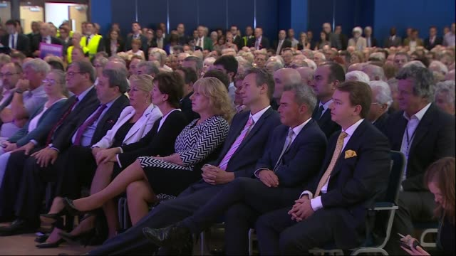 Nigel Farage speech Nigel Farage MEP speech continued SOT Audience including Diane James listening Audience applauding