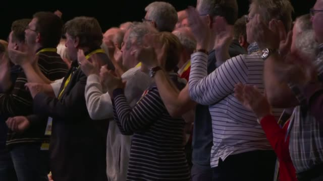 sturgeon to push for second independence referendum post brexit uk glasgow sec various conference delegates applauding / posters in hallway scotland... - scottish national party stock videos & royalty-free footage