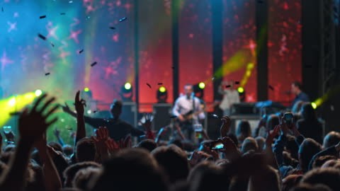 slo mo ds confetti falling in a night concert - concert stock videos & royalty-free footage