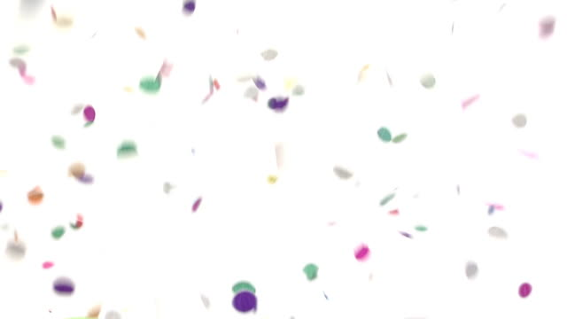 confetti falling - white background stock videos & royalty-free footage