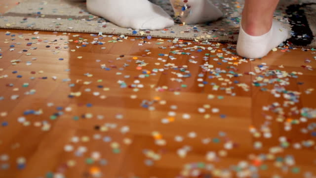 Confetti scattered on the floor after party