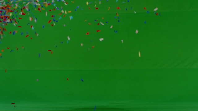 Confetti shower on green