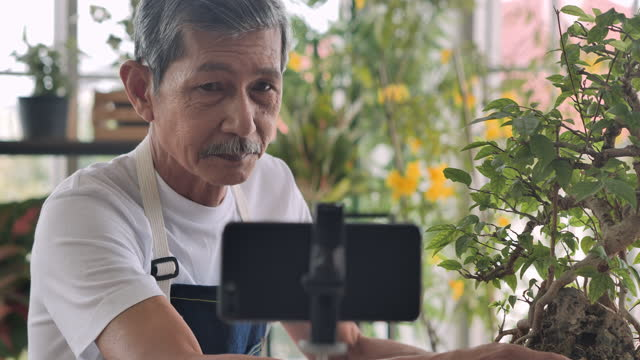 confidence asian senior men age 62 year old speaking in front of camera for vlog.elder man working as blogger while recording video explaining houseplants for sell by streaming live on social media at home. - side hustle stock videos & royalty-free footage