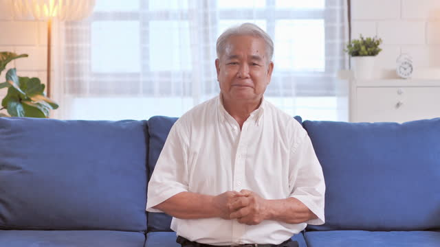 confidence asian senior men age 62 yearold he is vlogging (video blogging)to talk and share everything on social media stay at home prevent epidemics of coronavirus or covid-19.social teleconferencing concept. - 60 64 years stock videos & royalty-free footage