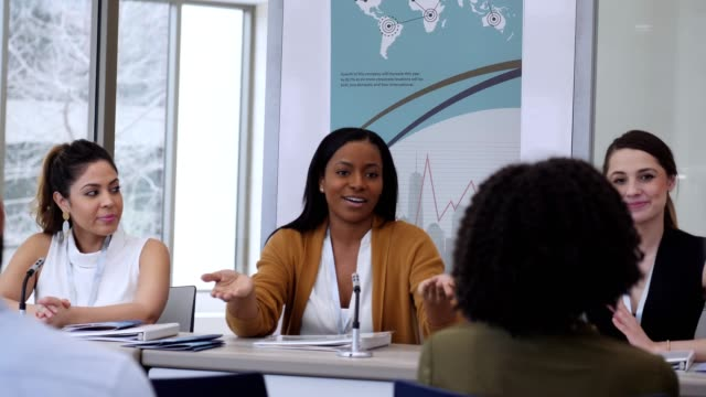 confident african american businesswoman discusses something during panel discussion - public speaker stock videos & royalty-free footage