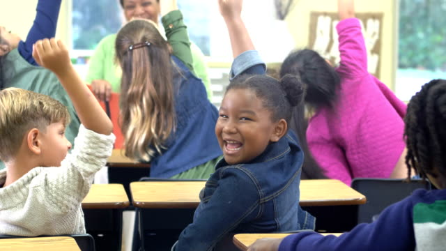 confident african-american girl in classroom - 6 7 years stock videos & royalty-free footage