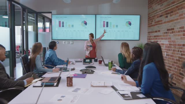 confident businesswoman explains sales data and graphs on large digital monitors to her fellow diverse business colleagues during an important team meeting - technology stock videos & royalty-free footage
