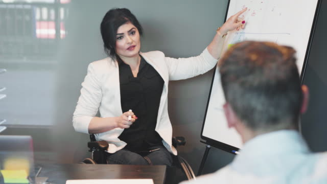 confident disabled businesswoman explaining strategy to businessman over flipchart in board room during meeting at creative office - medarbetarengagemang bildbanksvideor och videomaterial från bakom kulisserna