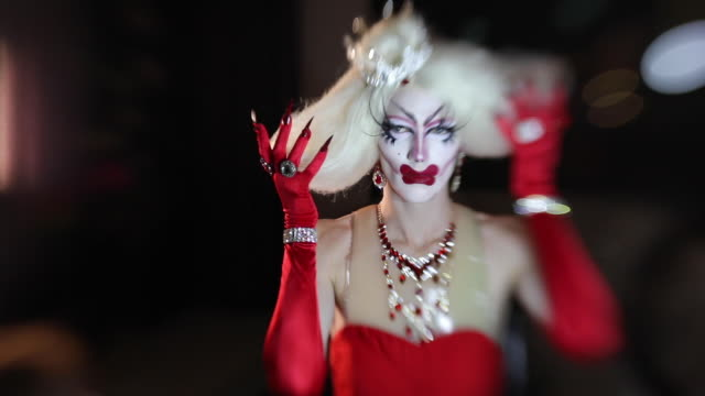 confident drag queen in red dress - stage costume stock videos & royalty-free footage