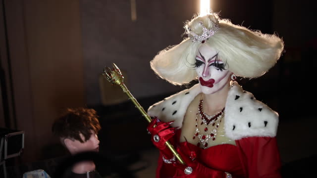 confident drag queen in red dress - drag queen stock videos and b-roll footage