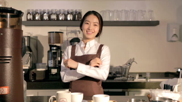 confident female barista in cafe - tray stock videos & royalty-free footage