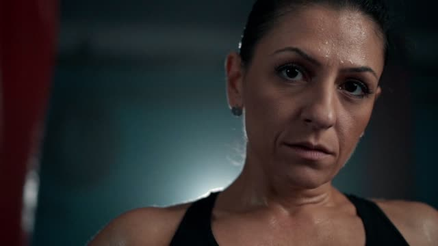 confident female boxer's look - strongwoman stock videos & royalty-free footage
