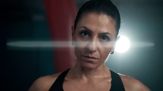 confident female boxer's look - martial arts stock videos & royalty-free footage
