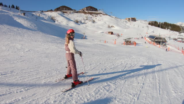 confident girl skiing - ski holiday stock videos & royalty-free footage
