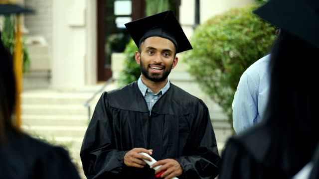 confident male college graduate gives motivating speech to graduate - student leadership stock videos & royalty-free footage