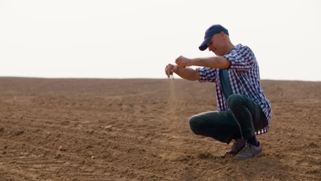vídeos y material grabado en eventos de stock de granjero masculino seguro de análisis de calidad de suelo. suelo de examinig granjero en manos - un solo hombre maduro