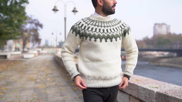 vídeos de stock, filmes e b-roll de homem confiante usando suéter enquanto caminhava em passeio em lindo dia ensolarado de outono - suéter