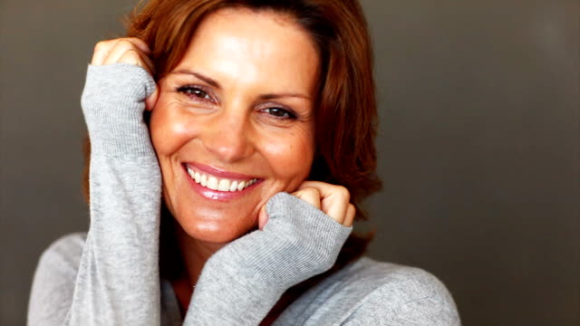 confident mature lady laughing - mature women stock videos & royalty-free footage