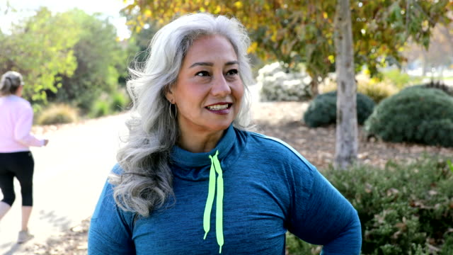confident mexican woman after workout - grey hair stock videos & royalty-free footage