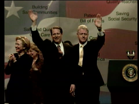 america selling kosovo war us clinton on stage with al gore at rally zoom in as both wave - al gore stock videos and b-roll footage