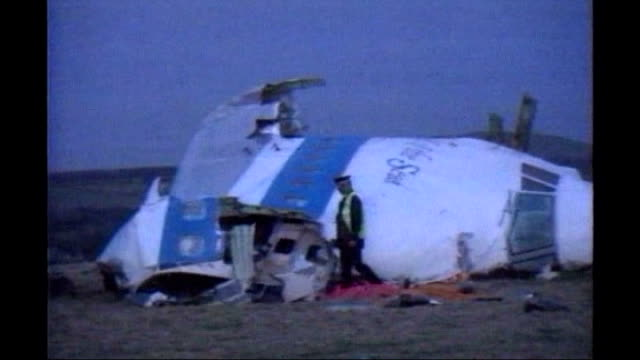 battle for tripoli tx dumfries and galloway lockerbie ext wreckage and cockpit of plane pan am flight 103 lying in field air view / aerial crater... - dumfries and galloway stock videos & royalty-free footage