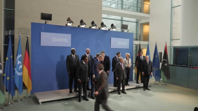 berlin conference on libya: family photocall; germany: berlin: int leaders arriving and taking places for group family photocall / front row includes... - recep tayyip erdoğan stock videos & royalty-free footage