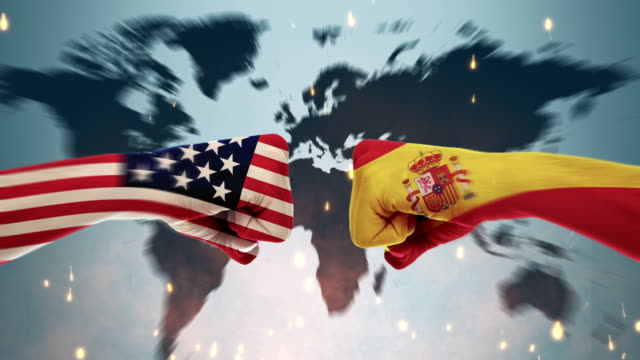 conflict between male fists - governments conflict concept, america and spain, flags - spanish flag stock videos and b-roll footage