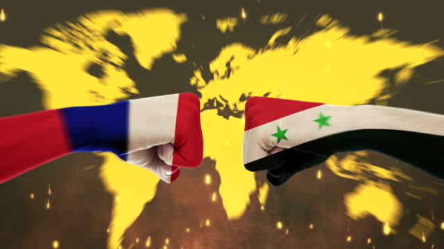 Conflict between male fists - governments conflict concept, France and Syria , Flags - Green Screen