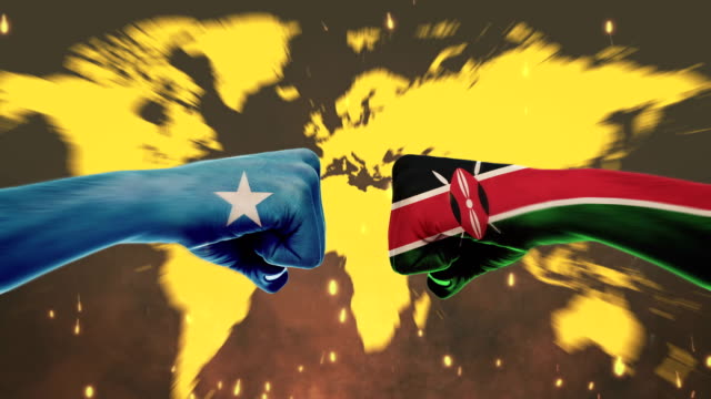 conflict between male fists - governments conflict concept, kenya and somali, flags - green screen - kenyan flag stock videos & royalty-free footage