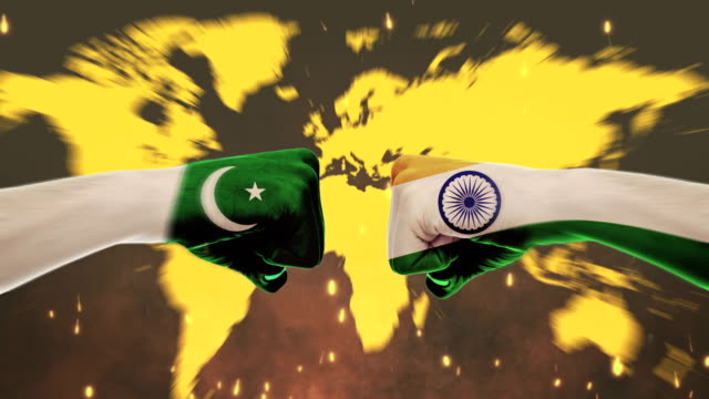conflict between male fists - governments conflict concept, pakistan and india, flags - green screen - conflict stock videos & royalty-free footage