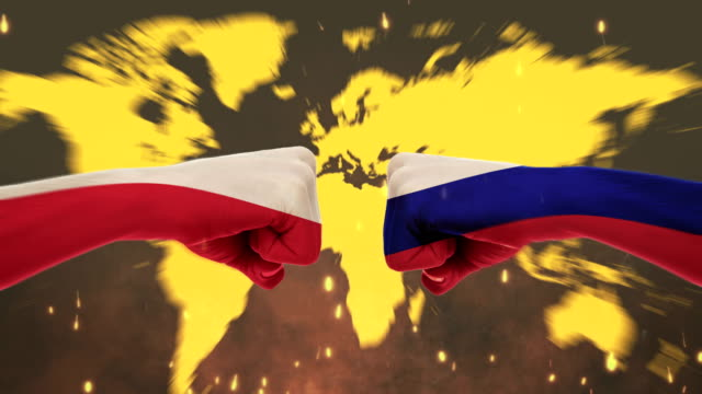 Conflict between male fists - governments conflict concept, Russia and Poland, Flags - Green Screen