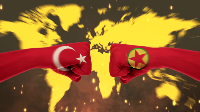 conflict between male fists - governments conflict concept, turkey and pkk, flags - green screen - kurdistan workers party stock videos & royalty-free footage