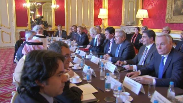 Boris Johnson hosts talks on Syria and Yemen Meeting / press conference on Syria ENGLAND London Lancaster House PHOTOGRAPHY** Boris Johnson MP John...