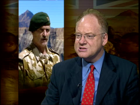 brigadier lane given vote of conflidence; itn int robert fox interviewed sot - something going on here - there is concern going on in the service... - bagram stock-videos und b-roll-filmmaterial