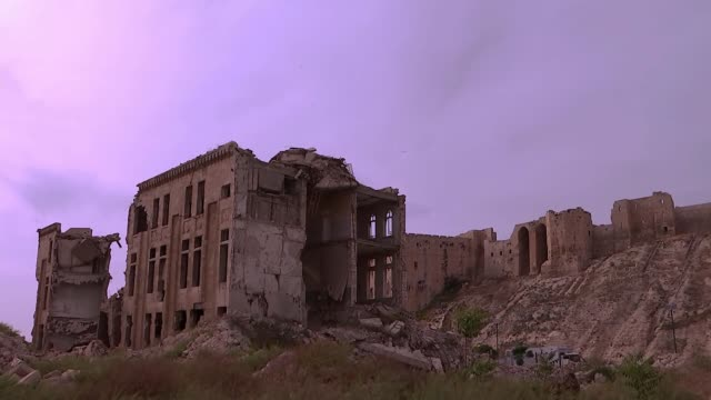 Chemical weapons inspectors to begin checks in Douma SYRIA Aleppo EXT General view Citadel of Aleppo showing damage from siege Wide shot Aleppo...