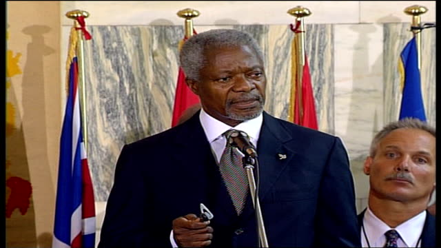 stockvideo's en b-roll-footage met day 15 rome summit italy rome foreign ministry int kofi annan press conference sot the shelling of the un position which is longestablished and... - israëlisch leger