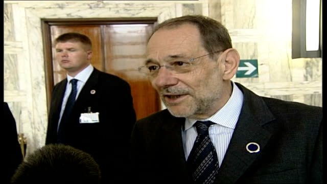 day 15 rome summit javier solana interview sot that is not my reading of this meeting / proactive meeting / a lot of things will take place in the... - time of day stock videos and b-roll footage