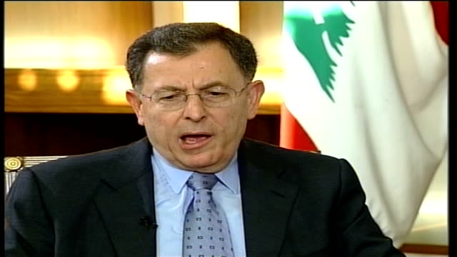 fouad siniora warning; reporter and fouad siniora sit down together in office 2 shot fouad siniora interview sot - i think what's happening in... - ceasefire stock videos & royalty-free footage