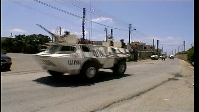 diplomacy: blair calls for change in strategy; date unknown lebanon: ext united nations armoured vehicle along dissolve to - diplomacy stock videos & royalty-free footage