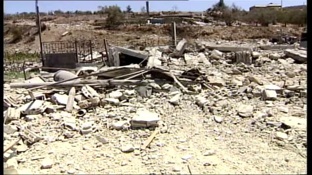stockvideo's en b-roll-footage met day 21 people desperate to escape towns in southern lebanon general view of heap of rubble hezbollah artillery shells lying in the rubble pull... - shell merknaam