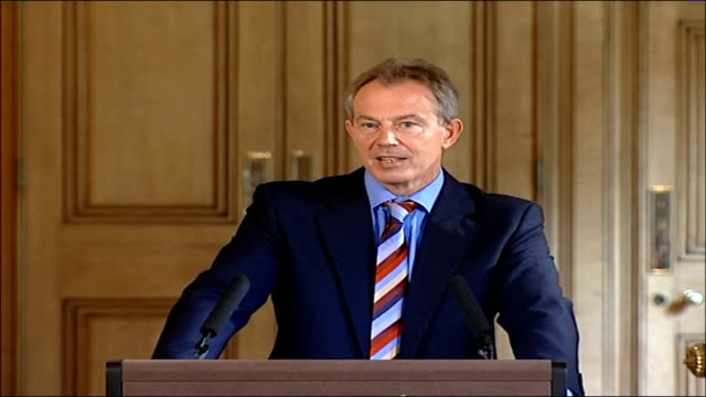 tony blair press conference; england: london: downing street: int tony blair mp press conference sot - no doubt what the purpose of the sectarian... - no doubt band stock videos & royalty-free footage