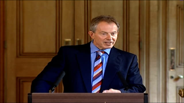 tony blair press conference; england: london: downing street: int tony blair mp press conference sot - my job is to try and bring it to an end and... - ceasefire stock videos & royalty-free footage