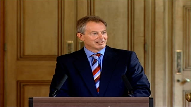 day 24 tony blair delays his holiday file / tx england london downing street int tony blair mp press conference sot whatever i'll be doing in the... - conference phone stock videos & royalty-free footage