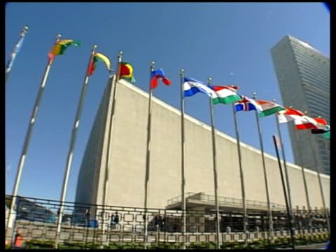 day 27 diplomacy un resolution delayed ext general view of united nations building dissolve to - diplomacy stock videos & royalty-free footage