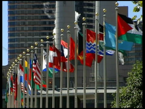 day 27 diplomacy un resolution delayed usa new york united nations general views of the united nations building with row of flags in foreground - diplomacy stock videos & royalty-free footage