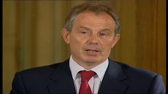 diplomacy england london downing street int tony blair mp press conference sot there have been over the last few days enormous diplomatic efforts to... - greater london stock videos and b-roll footage
