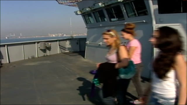 evacuations ext port of limassol seen from ship women and children along on deck to look over rail back view women and children with arms around each... - eurasia stock videos and b-roll footage