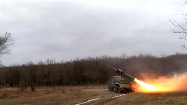 fighting continues as america considers arming ukraine ukraine ext grad rockets being fired by rocket launcher - ukraine stock videos & royalty-free footage
